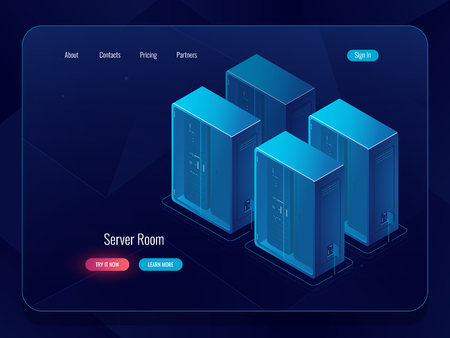 Data cloud storage banner, icon of connection at remote file warehouse, technology object, data science, server room and datacenter isometric vector Illustration