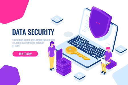Protection and security of computer data isometric, laptop with shield, man sit on chair with laptop, women engineer, cartoon landing page vector