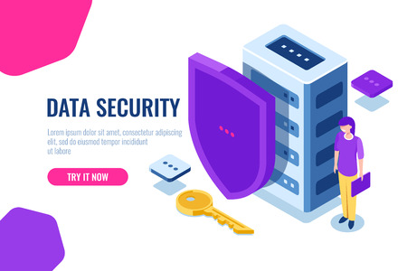 Data security isometric, database icon with shield and key, data lock, personal support of safety, women with laptop in hand, cartoon vector Illustration