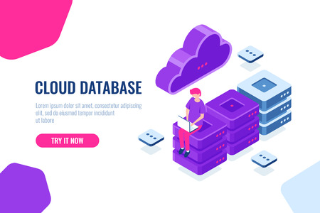 Cloud computer technology, storage and processing big data, server room, database and datacenter isometric icon, digital engineering, cartoon people vector color