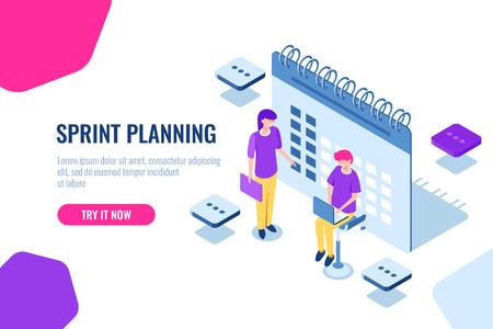 Sprintplanung isometrisches Konzept, Kalenderfüllung, Erinnerung an wichtige Angelegenheiten, Organisation von Aufgaben, Cartoon-Vektor-Methodik, Team, Symbol, Vektor, Zusammenarbeit,