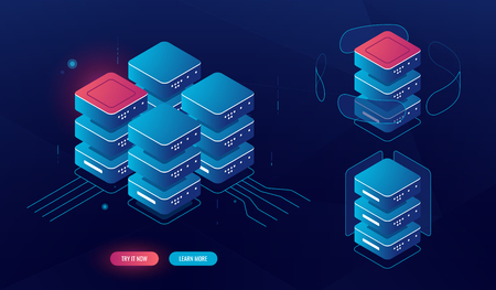Set of server room element, isometric big data processing, data center database concept, blockchain technology, data encryption, lighting, dark neon vector computing computer concept
