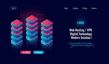 Cloud computing, server room rack isometric icon, big data processing, database data center, blockchain concept dark neon vector