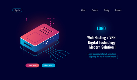 Cloud computing and big digital data processing isometric icon, router internet splitter, online web hosting concept, wi-fi routing, dark neon Vectores