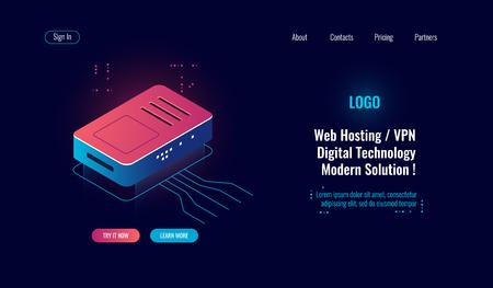 Cloud computing et grande icône isométrique de traitement de données numériques, répartiteur Internet de routeur, concept d'hébergement Web en ligne, routage wi-fi, néon sombre