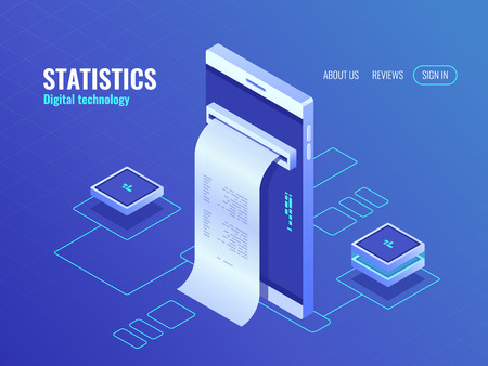 Mobile phone with payroll isometric icon, data on screen of smartphone, concept of data processing application 3d vector top
