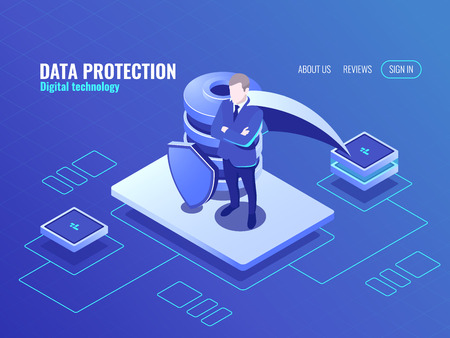 Data protection concept, the man in the cloak superhero, database isometric icon, shield protected, internet secure