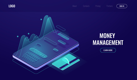 Online banking app, the statistics of expenses and incomes, money management, payment and pay report, shopping internet dark neon vector Stock Illustratie