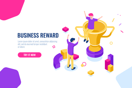 Winner reward isometric, business success, golden cup, people are happy to put their hands up, achievement and competition concept. Flat color vector