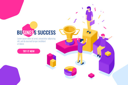 Successful business team work isometric, people achieve success, triumph, leader and leadership concept. Flat color vector illustration