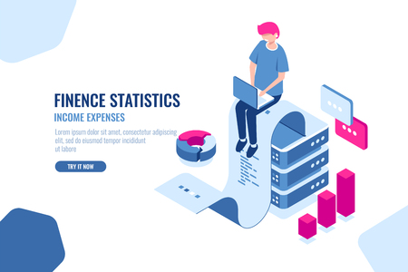 Financial statistics isometric icon, big data processing, income expense concept, paper tape with text, data engineering, flat vector illustration