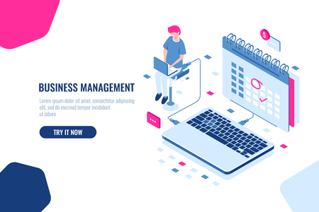 Concept of business manager, schedule in calendar, mark important Affair and event on the calendar, online task management and control business. Isometric falt vector illustration cloud Stock Illustratie