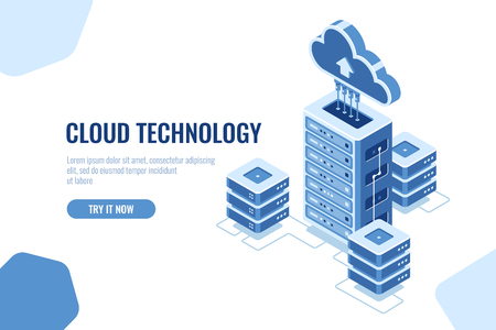 Salle des serveurs, icône isométrique du centre de données, sur fond blanc, informatique en nuage, vecteur de transfert de base de données de données