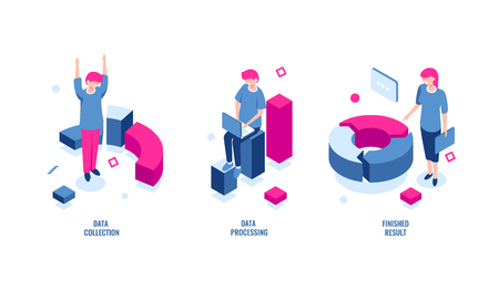 Business statistics, data collection and data processing isometric icon, finished result, chart diagram, income and expense, color flat vector