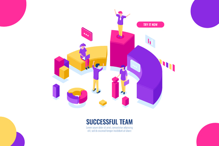Business education and consultancy, success team work, leader and leadership isometric concept, data analysis and statistics, flat color vector Vectores