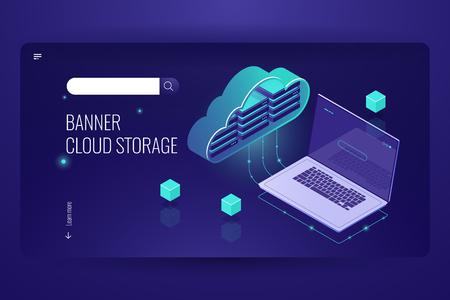 Calcul de base de données cloud, icône isométrique du transfert de données à partir du stock cloud, ordinateur portable, externalisation du traitement des données à distance, vecteur violet néon foncé