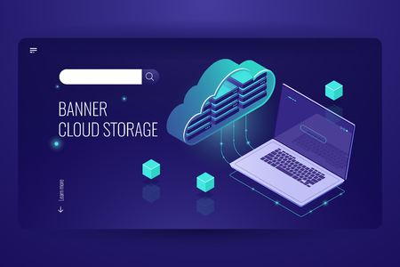 Cloud database computing, isometric icon of data transfer from cloud stock, laptop, remote data processing outsourcing, dark neon violet vector