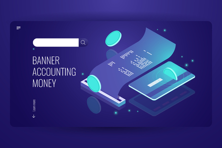 Blockchain payment concept, isometric internet online pay and bank, electronic bill and billing information, printing receipt of purchase, credit card dark neon violet vector Stock Illustratie