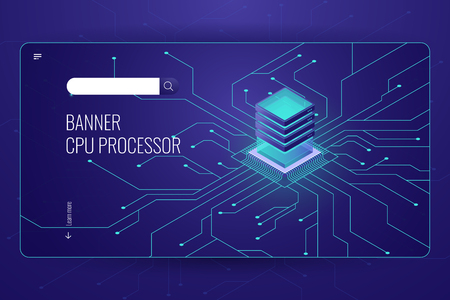 Big data processing, CPU processor isometric banner, network data transfer and calculation, dark neon violet vector Stock Illustratie