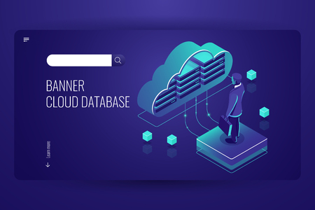 Cloud database, isometric icon, data cloud computing, man stay on platform, dark violet vector