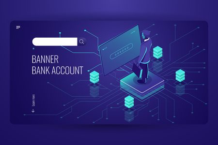 Bank account, accounting online service, data access process, artificial intelligence, man be registered in system, dark violet vector Ilustração