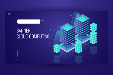 Cloud computing technology, remote data storage, server room data center concept, cloud database service, dark neon violet vector