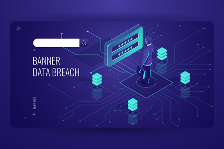 Data breach, hacker attack, password guessing hacking, digital engineering, social engineering, try of authentification, dark neon vector