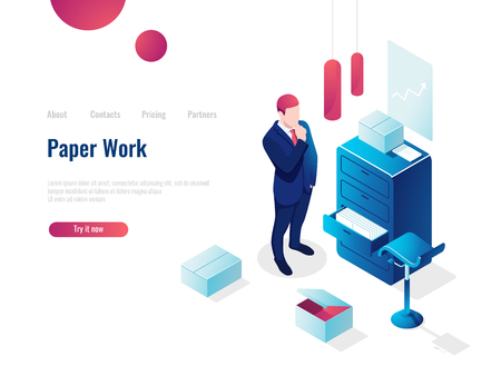 Paperwork isometric icon, man thought parses documents, planning and business Analytics, work with documents, vector people