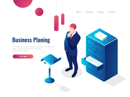 Organization of the working process isometric, work with documents, paperwork, the man thinks brainstorming, office interior people vector