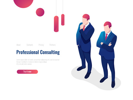Professional consulting service advice partner for the business, brainstorming, teamwork, lawyer, isometric people Illustration