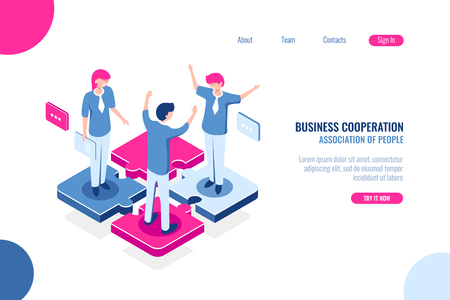 Part of the team, business puzzle concept, joint decision making, teamwork marketing, isometric flat vector illustration