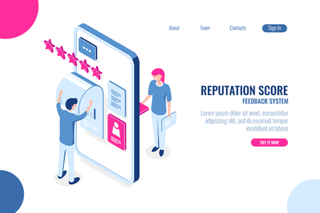 Reputation score isometric concept, opinion with star on mobile phone app, feedback, ux ui desing, application development, color isometric flat vector illustration