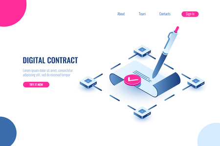 Digital smart contract, isometric icon concept of electronic signature, blockchain technology crypto, paper receipt of payment, verified document, flat vector illustration, blue and pink color Stock Illustratie