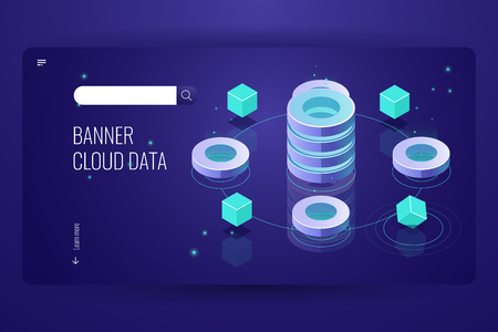 Cloud computing isometric concept, data Insight and analysis, computer science futuristic object, database server room banner landing page, dark neon vector Stock Illustratie
