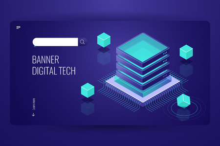 Computer science isometric landing page, server room, cloud database, futuristic lighting object with cube form dark neon violet vector