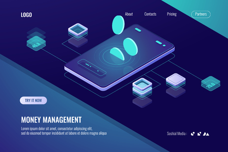 Accounting money, isometric online bank, horizontal banner of mobile application for cryptocurrency, dark violet neon vector 矢量图像