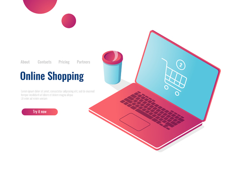 Online shop isometric icon, laptop with shopping basket, order purchase, 3d vector