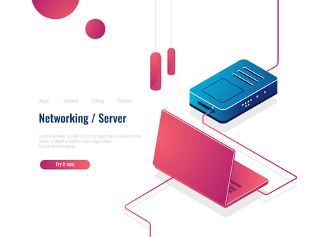 Laptop connected to the Internet via router isometric icon, networking concept, server room data exchange vector