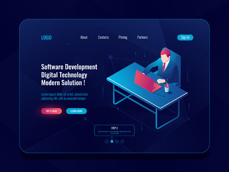 Programmer and engineering development isometric icon, man sitting at a table, software developt, dark neon vector illustration