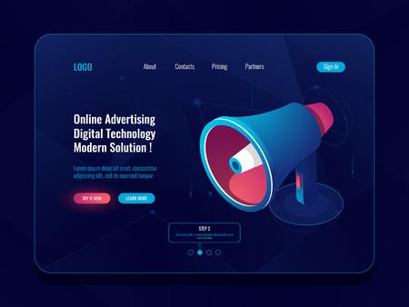 Smart advertising online concept, Loudspeaker Megaphone isometric icon, promotion social media dark neon vector