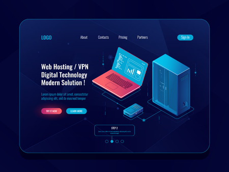 Server room isometric banner, data center and database icon, cloud storage, data transfer and backup system, network topology, laptop router dark neon vector