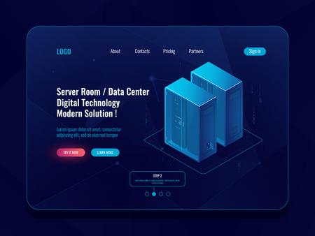 Server room and cloud storage isometric icon, big data center, database visualization, data flow dark neon vector digital technology
