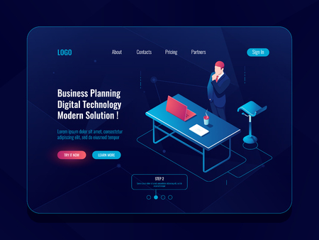 Business planning concept, businessman stay and think brainstorm process, workflow in office, laptop table man dark neon vector Illustration