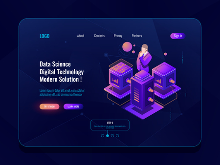 Data science, big data processing, server room, database and data center concpet, isometric icon, data analysis and statistic report dark neon vector Illustration