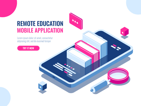 Tutorial on mobile phone application, online education, internet course, data searching, archive ebook cartoon flat vector illustration 矢量图像