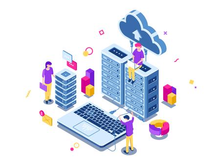Big data center, server room rack, engineering process, teamwork, computer technology, cloud storage, command work, isometric people vector illustration 矢量图像