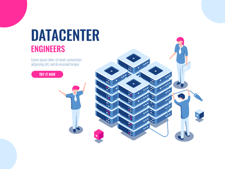 Server room rack, database and data center, cloud storage, blockchain technology, engineer, teamwork cartoon isometric people vector