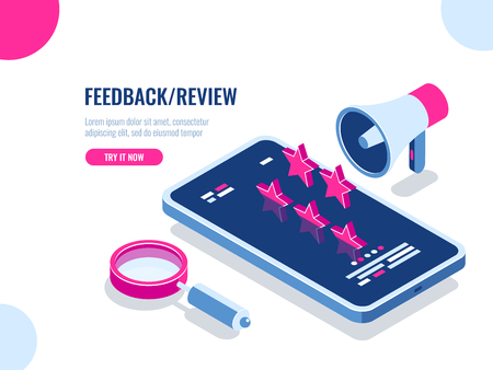 Feedback and review on mobile application, recommendation message, reputation on the Internet, mobile digital advertising isometric vector illustration