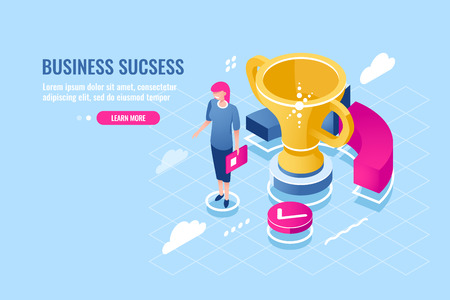 Successful business manager, achievement of goal, success women, deserved award, young girl with golden cup, finance report and analysis flat vector illustration blue