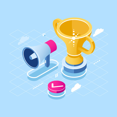Goal achievement and motivation isometric icon, loudspeaker and golden cup, win and success concept, award flat vector illustration blue white